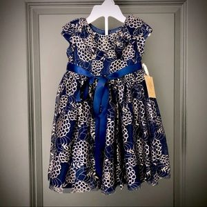Laura Ashley Navy Blue and Gold Girls Dress